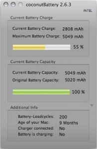 coconutBattery zeigt MacBook-Akku nach 200 Ladezyklen
